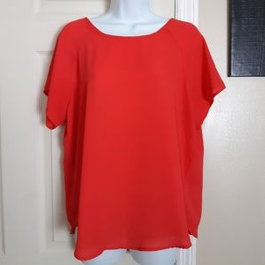 Lily White Red Sheer Top
